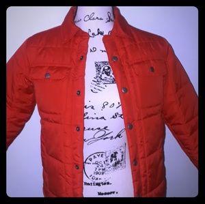 Old Navy Orange Quilted Fleece Lined Jacket Boys